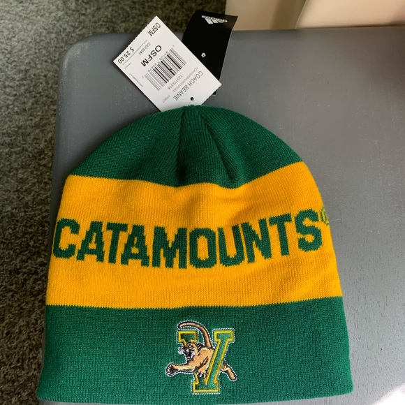 Adidas Vermont catamounts beanie hat green yellow